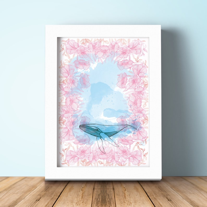 Illustration Whale with flowers. A4 decoration sheet. Digital image 0