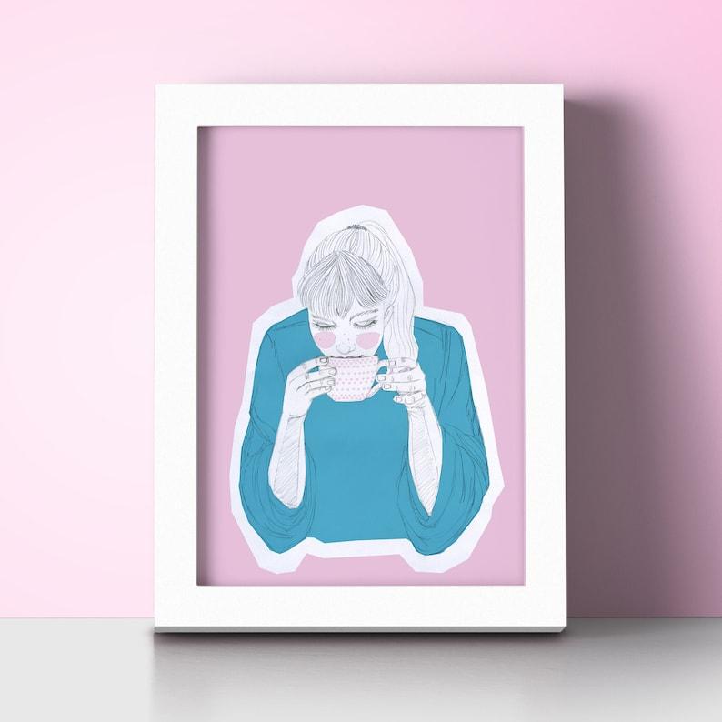 Illustration Girl  coffee. Decorative sheet size A4. Pencil image 0