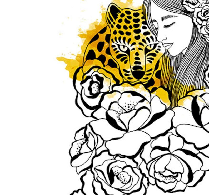 Illustration Woman Tiger  Decorative sheet size A4 nice image 0