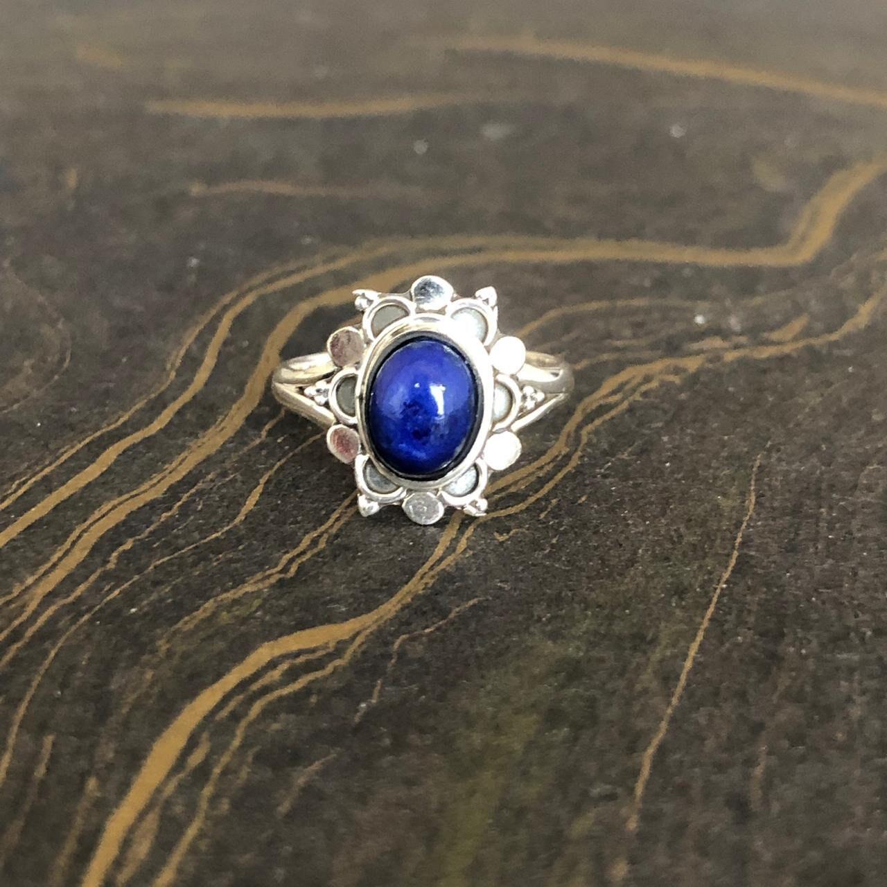 Lapis Lazuli Ring ~ Sterling Silver 925 ~ Handmade ~ Gemstone ~ Everyday ~Hippie ~Bohemian ~MR078