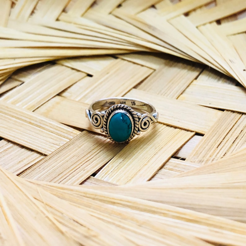 Turquoise silver Ring Cabochon stone ring silver ring for women silver Ring handmade band ring 925 sterling silver Ring