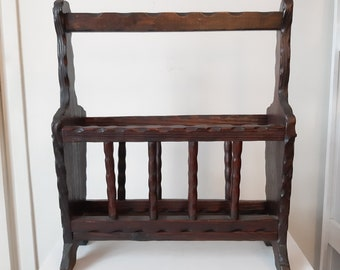 Vintage French Rustic Wooden Magazine Rack For Storing Magazines And Newspapers Storage Holder Circa 1970's