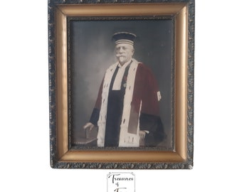 Antique Framed Painting Over Photography End 19th French Judge Portrait Law Personality Empire Judge Gift Law Office Decor Props Circa1880's