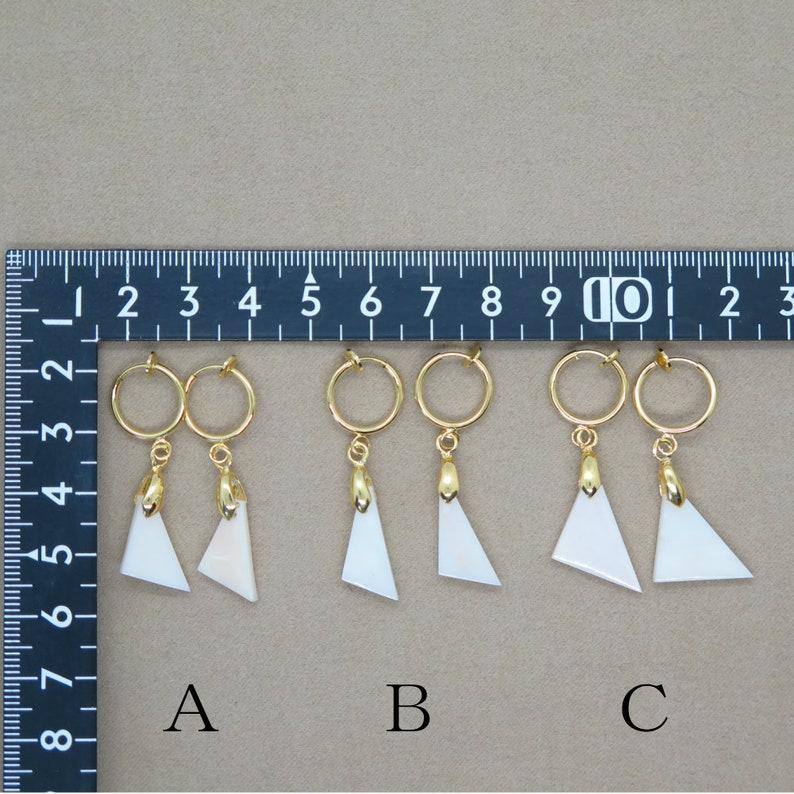 E9 Triangle White Coral Hoop Earrings Natural Genuine Precious Deep-Sea Coral Earrings