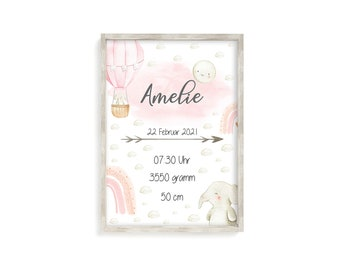 Birth Announcement Birth Dates Birth Poster Personalized Birth Gift Birth Picture Baby Girl Art Print with Name Unframed