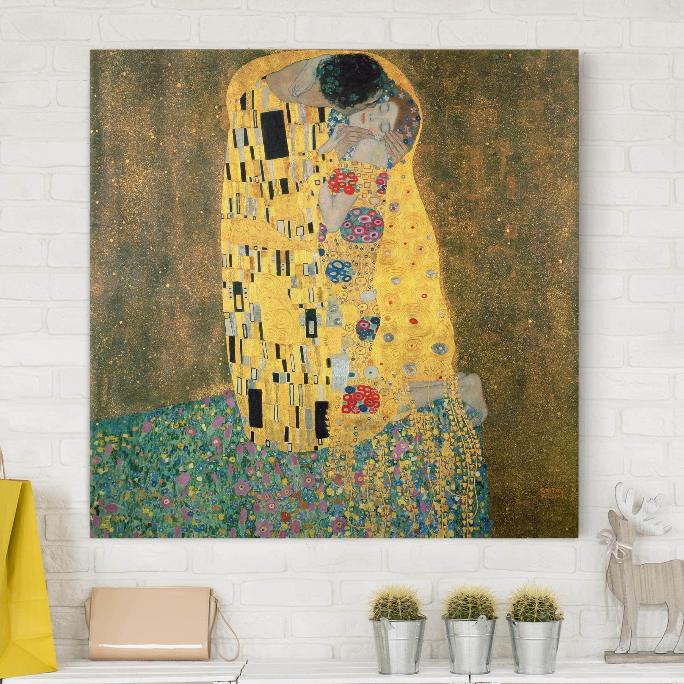 Leinwandbild - Gustav Klimt Der Kuss | Wandbilder Wanddeko Kunst Kunstdruck Künstler Malerei Jugendstil Wanddekoration