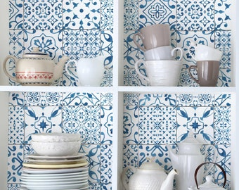 Adhesive Film - Pattern Tiles Blue White   self-adhesive foil design pattern wall art