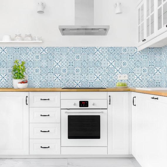 Self Adhesive Splashback Pattern Tiles Blue White Kitchen Etsy