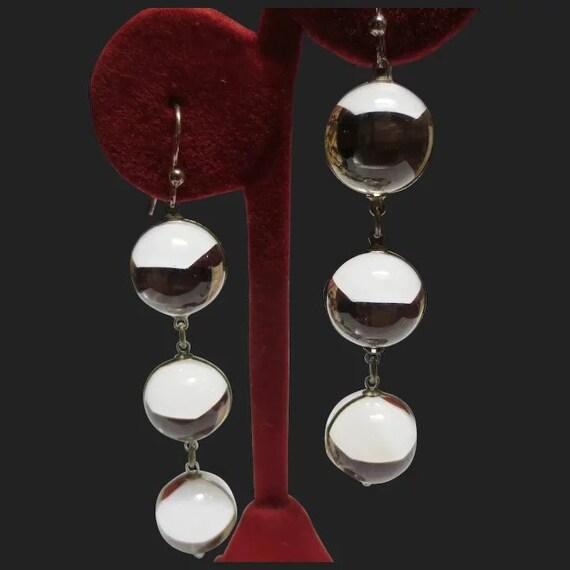 Vintage Pools Of Light Silver Art Deco Earrings