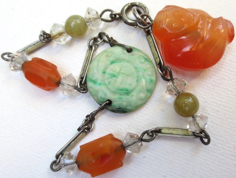 Deco Sterling Silver Chinese Carved Carnelian Monkey Antique Jadeite Jade Bracelet