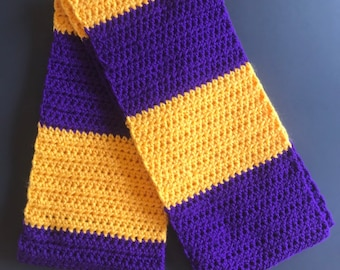 Sports Fan Stripes Handmade Crocheted Fashion Ruffle Scarf Purple//Black