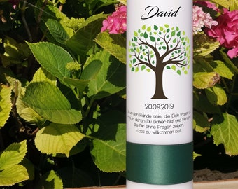 Baptismal candle girl/boys - tree of life with green leaves