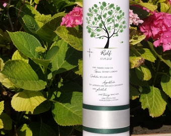 Funeral Candle Tree Green (Personalized according to Desire / Gift / Memory / Remembrance / Funeral / Funeral / Individual)
