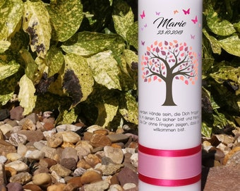 Baptism candle girl - tree of life with pink leaves & butterflies