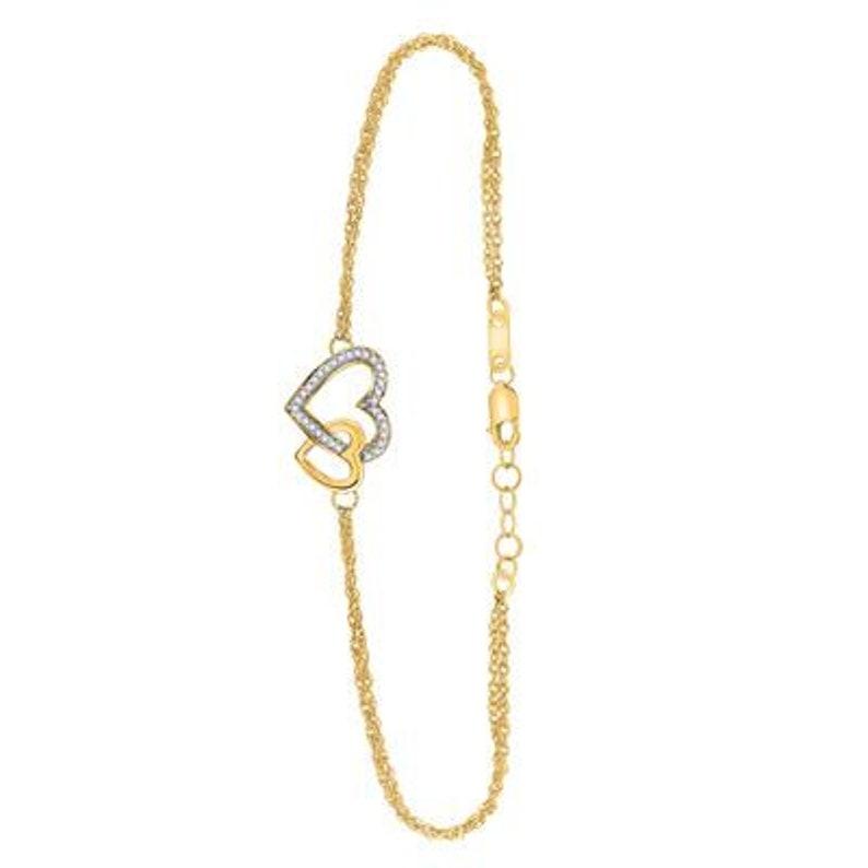Yellow Gold Round Diamond Double Heart Bracelet 110 Cttw 10K