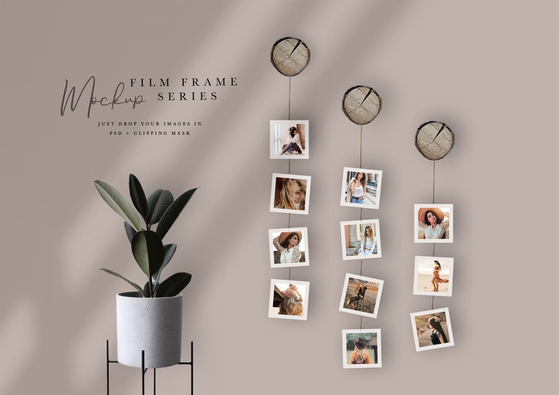 Modern Film Frame Digital Wall Mockup Square Photo Frame PSD+Clipping Mask 11 Frames Thin White Frame