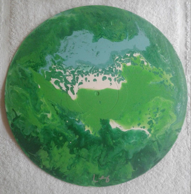 One of a Kind Acrylic Fluid Painting on Vintage Vinyl Record #62 art by Kenny Lessing  2019 Jungle Book