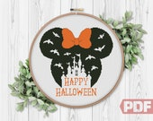 Happy Halloween Cross Stitch Pattern, Castle Silhouette Mouse Art Modern Embroidery Home Decor Counted Chart xStitch PDF Instant Download