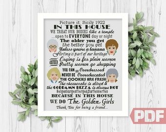 Cross Stitch Pattern, In This House Girls, Best Quotes, Funny TV Show, Art Fan Sitcom Comic Series, Counted Chart xStitch Digital Download