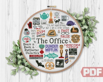 The Office Cross Stitch Pattern, Best Logo Quotes, Funny TV Show, Art Fan Sitcom Comic Series, Counted Chart PDF Digital Download
