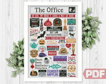 The Office Cross Stitch Pattern, Best Quotes, Funny TV Show, Art Fan Sitcom Comic Series, Counted Chart xStitch PDF Digital Download