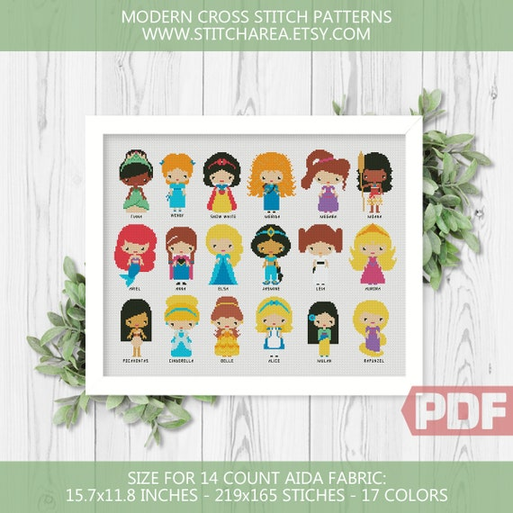 Disney Mini Princesses Cross Stitch Pattern Disney Heroes Small Pixel People Teen Room Modern Nursery Xstitch Chart Pdf Instant Download