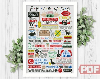 Best Friends Quotes Cross Stitch Pattern, Funny TV Show, Art Fan Comic Movie Series, Home Family Rules, Counted Chart PDF Instant Download