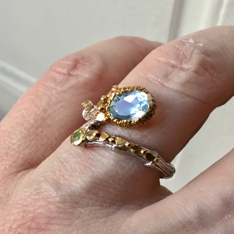 French Blue TOPAZ PERIDOT GoldSTERLING Ring from France- Us Size 8 14 Vintage French Design GoldSterling Silver Luxury Jewelry