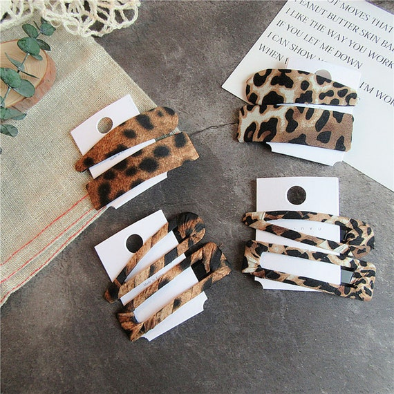 Leopard Hair Clip Geometric Water Drop Shape Hairpin Resin Metal Duckbill Clips