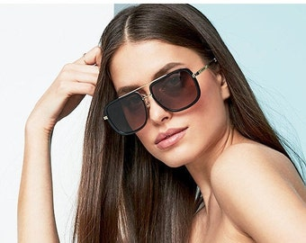 OVERSIZED SUNGLASSES - FANCY Sunglasses - Acetate Navigator Stylish Sunglasses Microfiber Cloth - Unisex Trendy Sunglasses