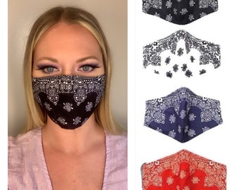 Unisex Adjustable Windproof Bandana Print Half Face Protection with Filter Anti-Dust Face and Nose Cool Soft Scarf
