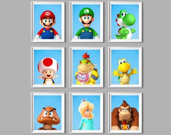 Paper Mario and Luigi Gaming Wii Gamecube Bedroom Decal Wall Sticker Picture