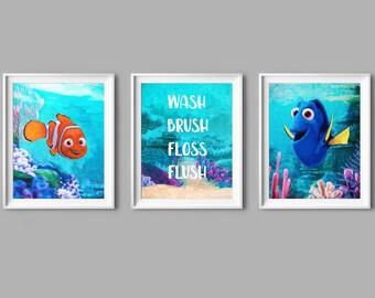 54d7e9a0216aad Lavaggio Pennello Floss Flush Trovare Nemo Olio Pittura Alla ricerca di Dory  Art Dory e Nemo Poster Nemo Parete Decor Nemo Compleanno Festa Nemo Regalo  ...