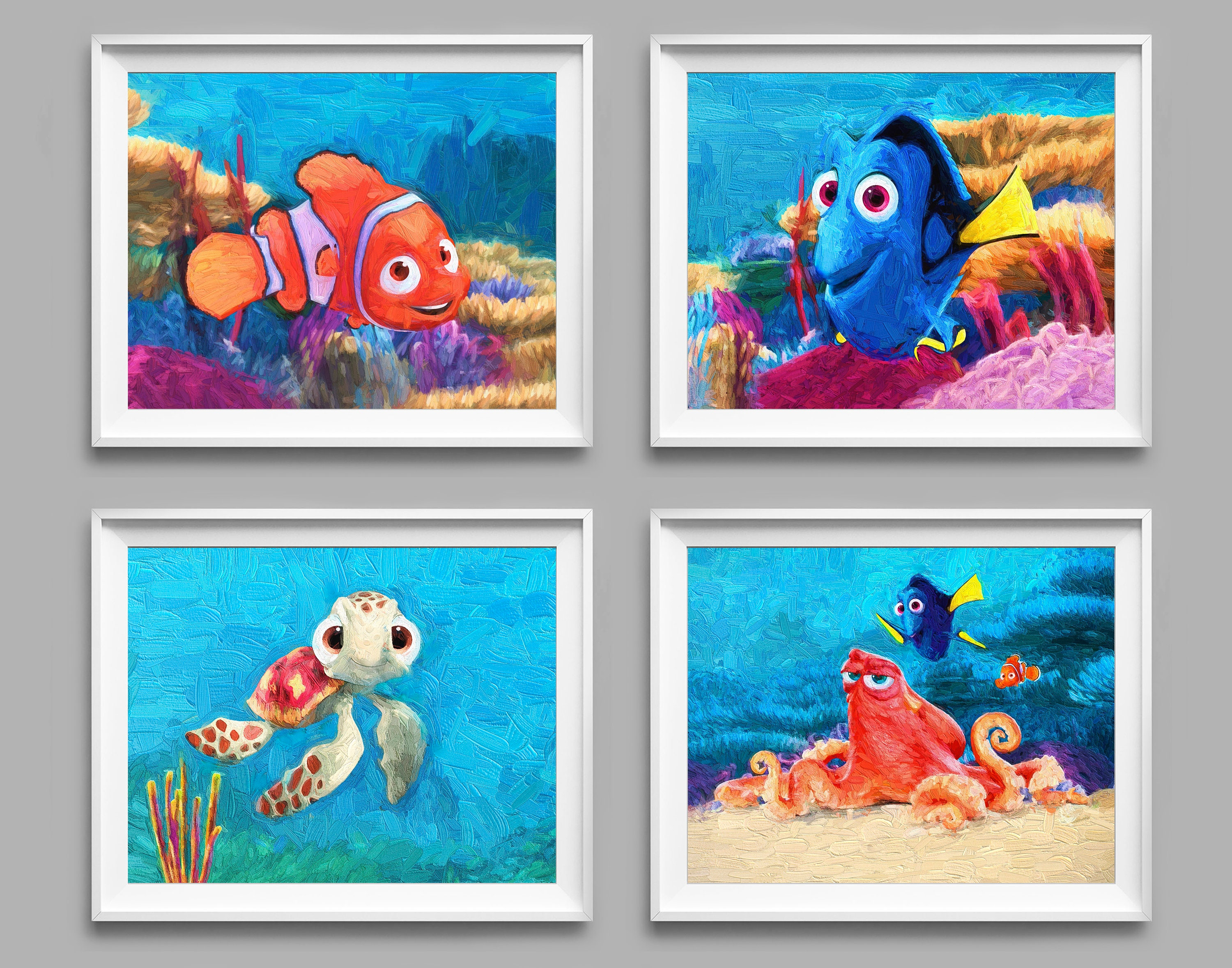 Finding Nemo Print Art Finding Dory Nemo Decor Squirtle Etsy