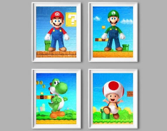 Super Mario Bros Prints Nintendo Decor Mario Luigi Yoshi Toad Etsy