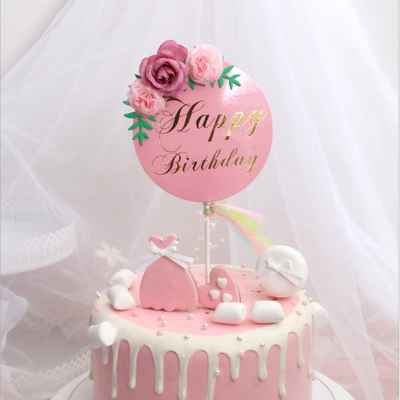 Fabulous Flower Birthday Cake Topper Pink White Paper Cake Topper Etsy Birthday Cards Printable Riciscafe Filternl