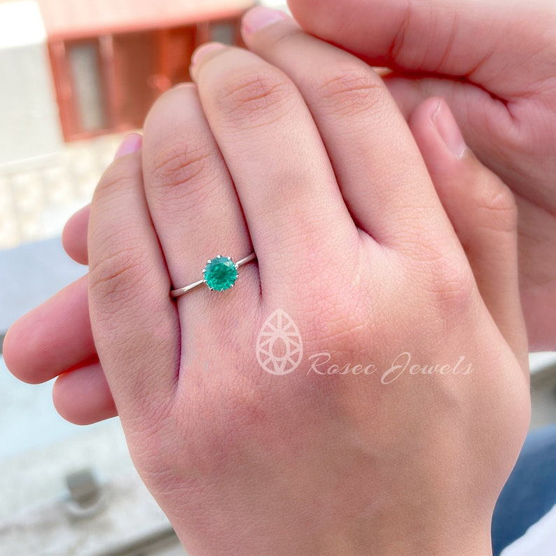 Promise Ring for Her 0.75 CT Created Emerald Solitaire Ring