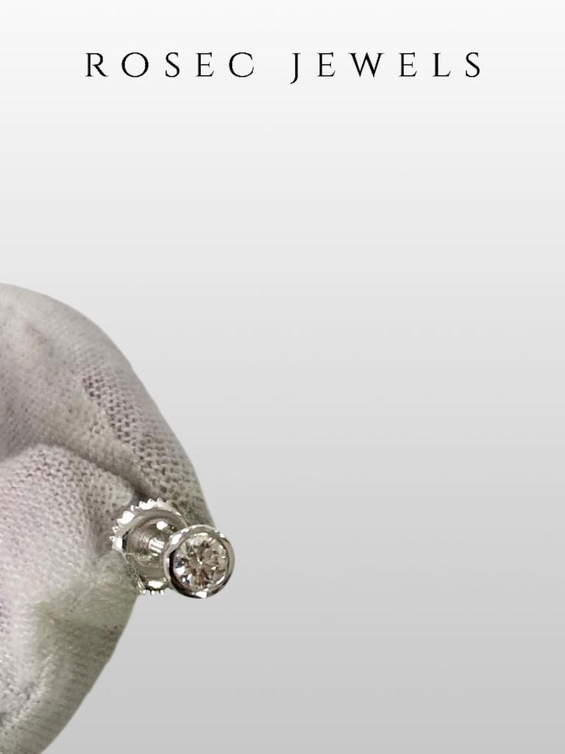 14 CT Round Diamond Earrings Bezel Set Earrings Solitaire Stud Earrings