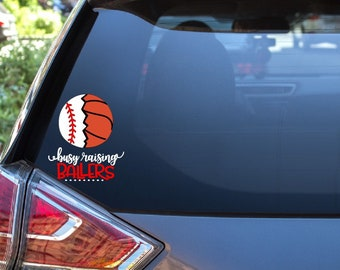 ORIGINAL Raising Ballers Decal Car Sticker 7x3 Soccer Ball Volleyball Basketball