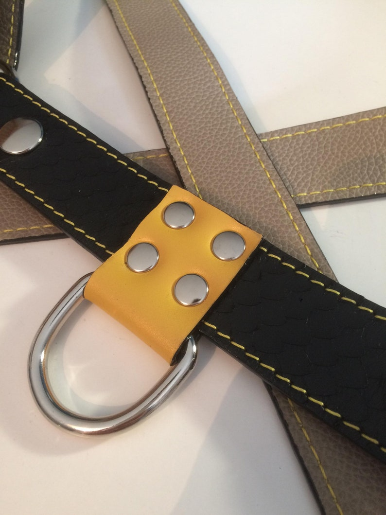 Stylish harness leather black and yellow