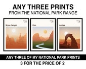National Park Print Set Of 3 Prints National Park Poster Money Saving Offer Any 3 Prints Choose Your Size Gift Travel Poster Travel Print