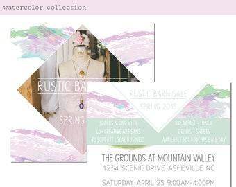 Watercolor Event Promo Card Design. Boho Watercolor Market Invitation. Printable Invite. Farmers Market. Barn Sale Event Flyer. Event Poster