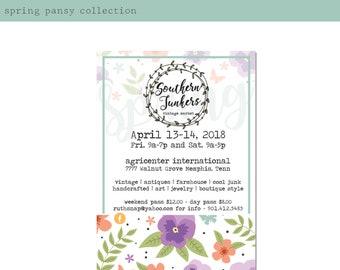 Spring Pansy Event Invitation Design. Boho Market Invitation. Printable Invite. Farmers Market. Barn Sale Event Flyer. Event Poster