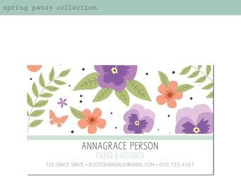 Spring Pansy Business Card Design. Boho Business Card. Printable Business Card. Barn Sale Event Business. Vintage Market Business.