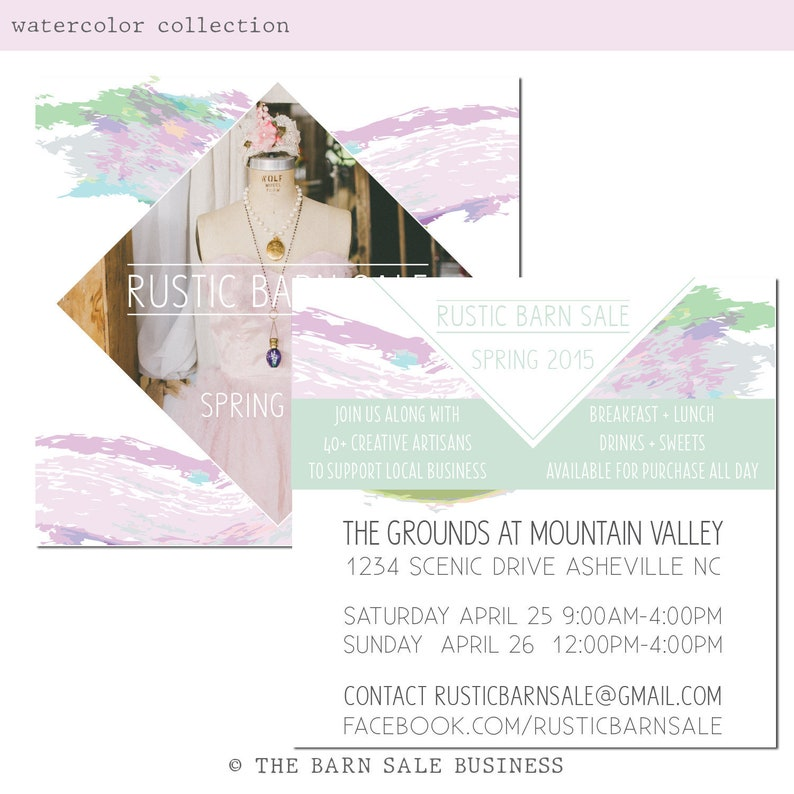 Watercolor Event Promo Card Design. Boho Watercolor Market image 0