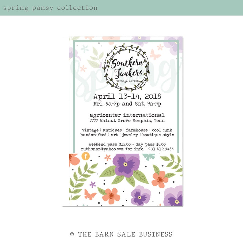 Spring Pansy Event Invitation Design. Boho Market Invitation. image 0