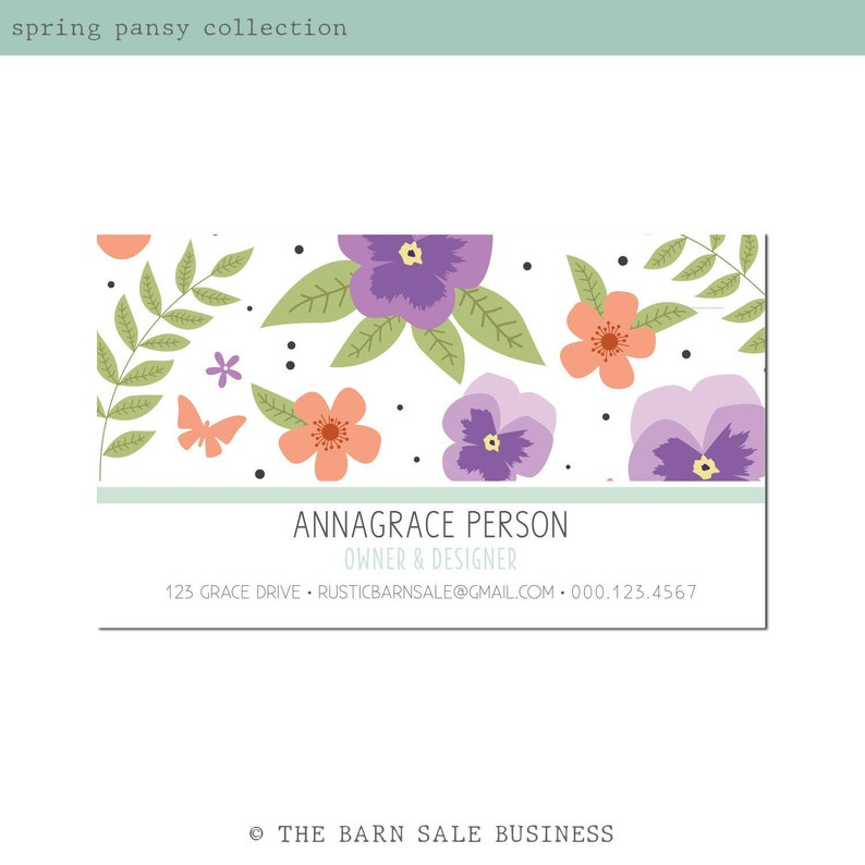 Spring Pansy Business Card Design. Boho Business Card. image 0