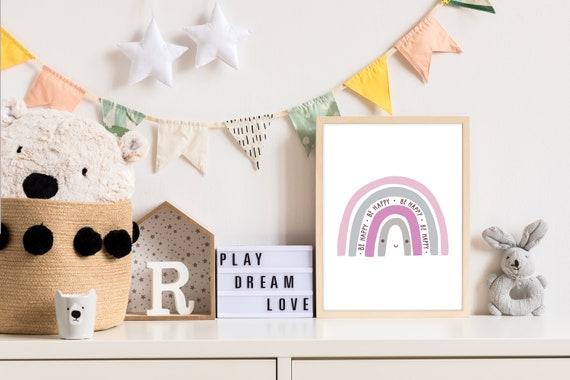 DIN A3 Pandawal Kinderzimmer Deko Bilder 3er Poster Set Baby ABC Zahlen Buchstaben Regenbogen Babyzimmer Junge und M/ädchen Senf Blau Grau R15