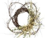 22 Wild Bohemian Cream Wreath, Boho Wreath, Natural Wreath, Eucalyptus Wreath, Everyday Wreath, Home Decor, Summer Wreath