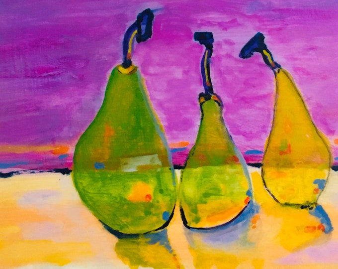 "Featured listing image: Glass Pears. Original beeswax art. 6""x4"" Ready to hang."